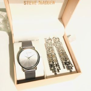 Silver-Tone Mesh Bracelet Watch &  Earrings